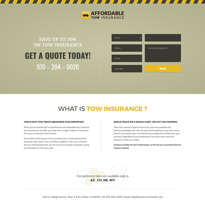 Affordable Tow Insurace Web Design Development