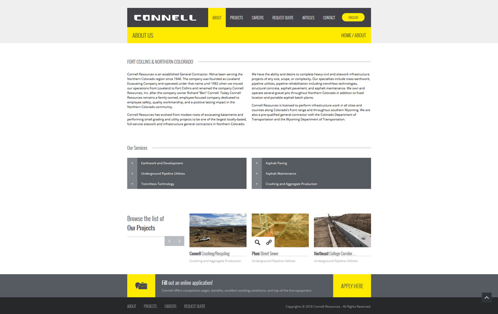 Connell Resources About Page Web Design Development