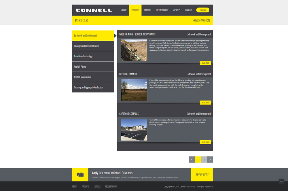 Connell Resources Projects Page Web Design Development