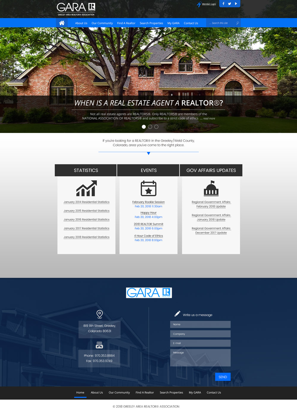 GARA Home Page Design