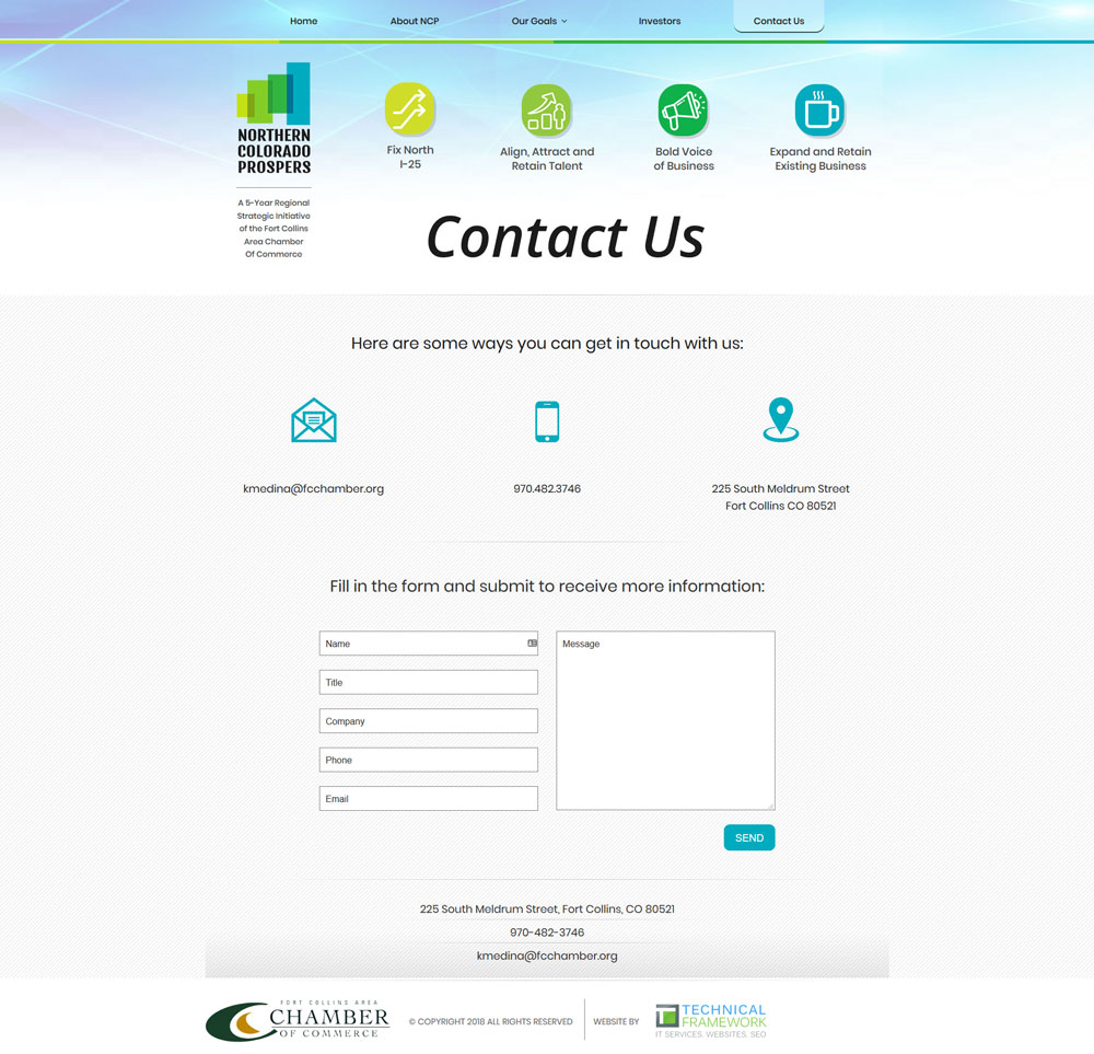 Northern Colorado Prospers Contact Page Design and Development