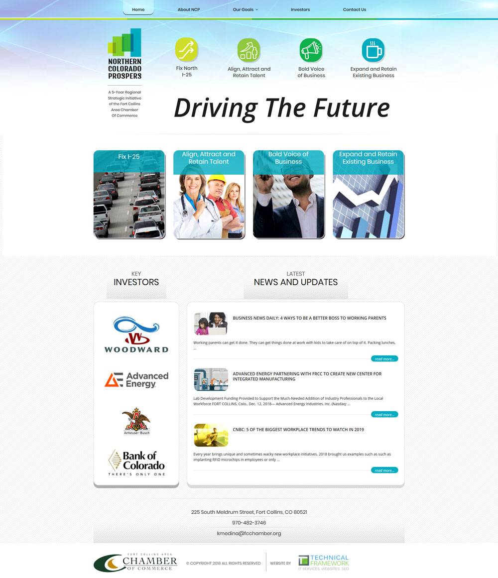 Northern Colorado Prospers Home Page Design and Development