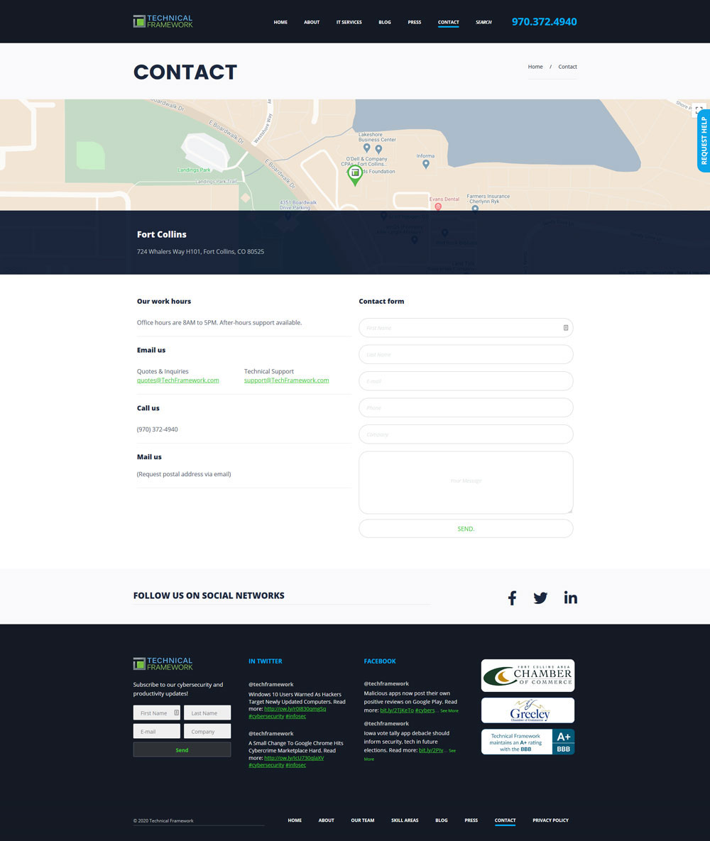 Technical Framework Contact Page